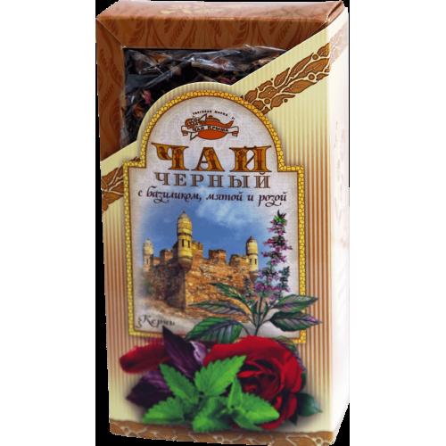 Чай черный с базиликом, мятой и розой в картонной пачке, 80 г.