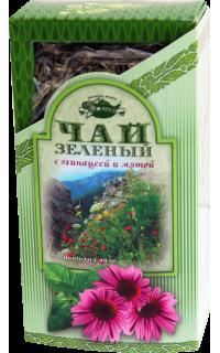 Чай зеленый с эхинацеей и мятой в картонной пачке, 80 г.
