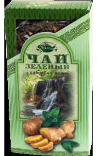 Чай зеленый с имбирем и мятой в картонной пачке, 80 г.