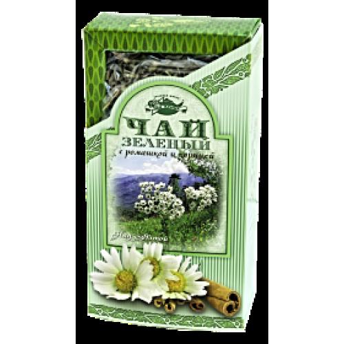 Чай зеленый с ромашкой и корицей в картонной пачке, 80 г.
